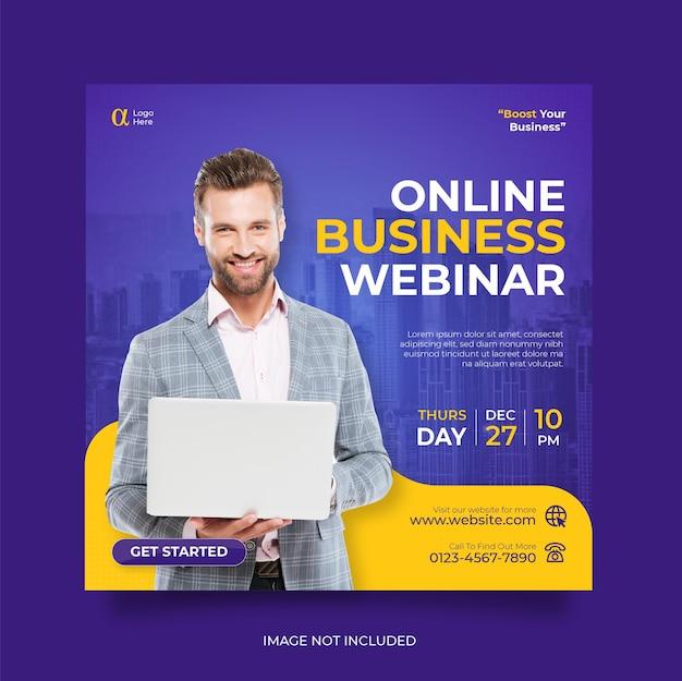 Webinar live di marketing digitale e modello di post sui social media aziendali Vettore Premium