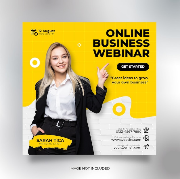 Webinar live di marketing digitale e modello di post sui social media aziendali