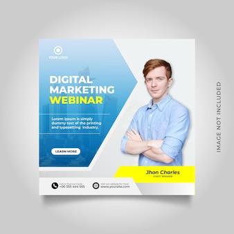 Modello di post sui social media per webinar live di marketing digitale
