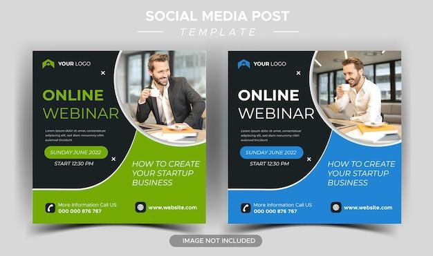 Modello di social media per webinar live di marketing digitale