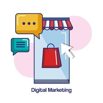 Illustrazione online di vettore del messaggio di chiacchierata del negozio del telefono cellulare di vendita di digital