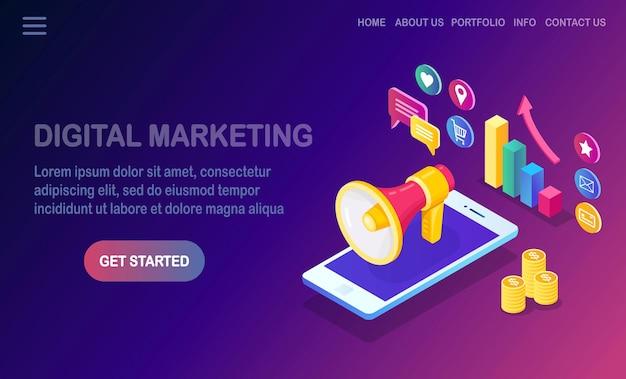 Marketing digitale. telefono cellulare, smartphone con soldi, grafico, cartella, megafono, altoparlante, megafono.