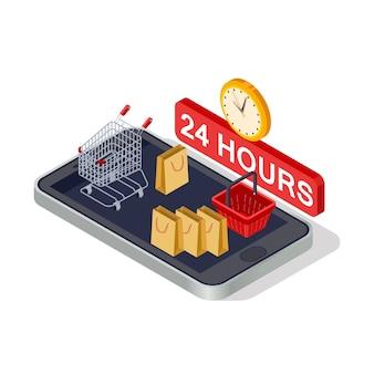 Marketing digitale, concetto di vettore isometrico shopping online su sfondo bianco