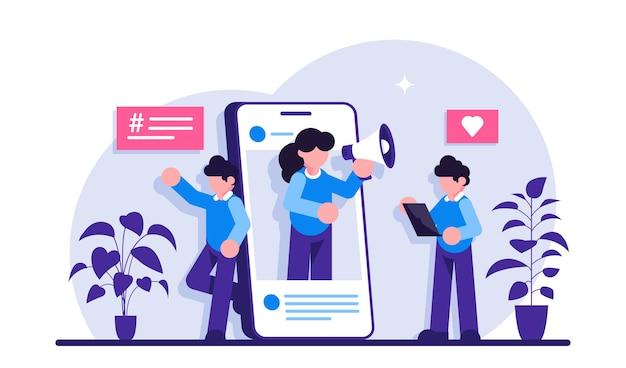 Marketing digitale, promozione, temi di comunicazione. influencer marketing concept. Vettore Premium