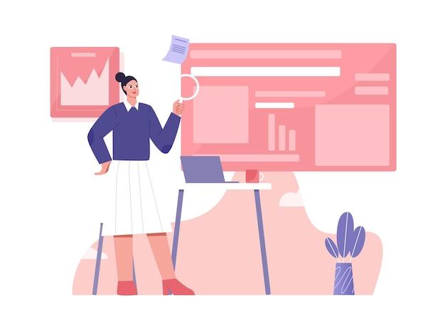 Illustrazione piana di ricerca di marketing digitale