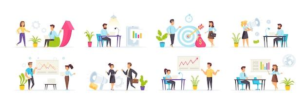 Set di marketing digitale con carattere di persone in varie scene e situazioni.