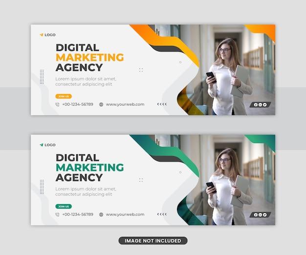 Modello di banner web di copertina di facebook di social media marketing digitale