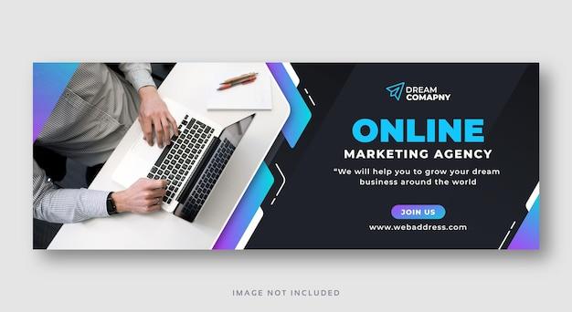 Banner web di copertina di facebook di social media di marketing digitale