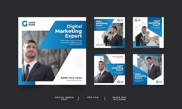 Modello di post sui social media di marketing digitale Vettore Premium