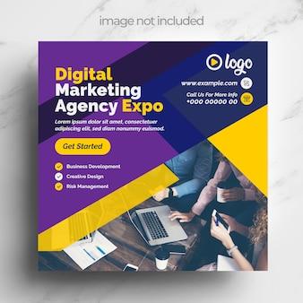Modello di social media marketing digitale con layout multicolore