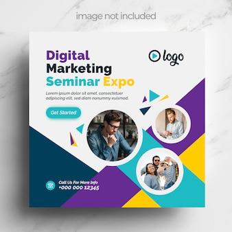 Modello di social media marketing digitale con accenti di colore multipli