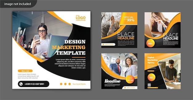 Modello di volantino quadrato di marketing digitale per post sui social media