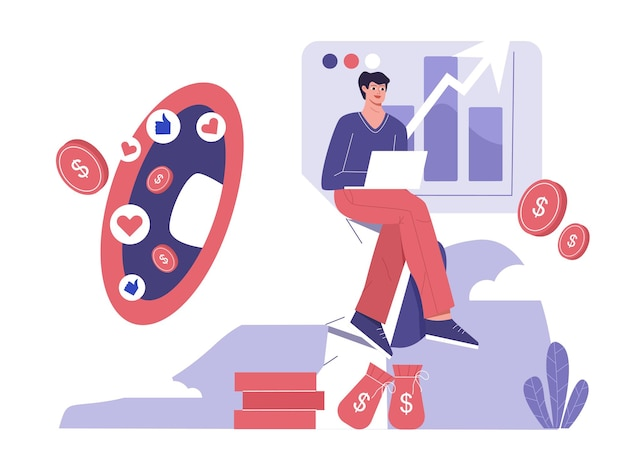 La strategia di marketing digitale aumenta l'illustrazione piatta delle vendite dei prodotti