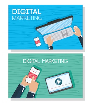 Tecnologia di marketing digitale con dispositivi elettronici