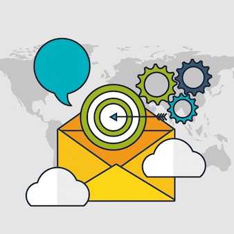 Tecnologia di marketing digitale con busta