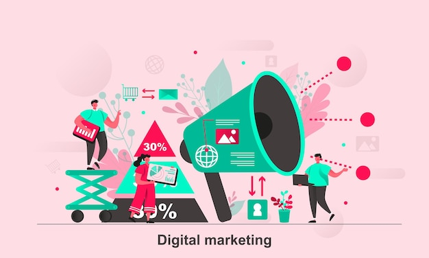 Design concept web marketing digitale in stile piatto con personaggi minuscoli