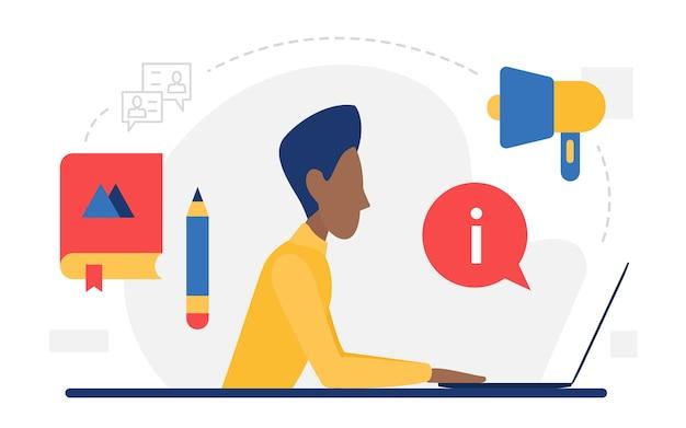 Digital marketing web concept uomo seduto con laptop e megafono promozione di massa