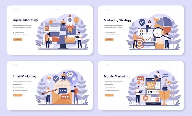 Set di pagine di destinazione web di marketing digitale. promozione aziendale, comunicazione con i clienti e pubblicità dei prodotti attraverso i social network. seo, sem. illustrazione vettoriale piatto