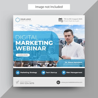 Webinar di marketing digitale modello di post sui social media, modello di post di instagram