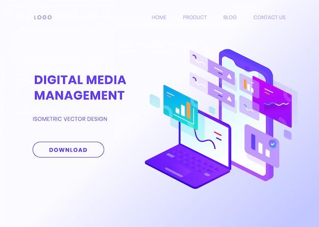 Illustrazione isometrica di gestione multimediale digitale
