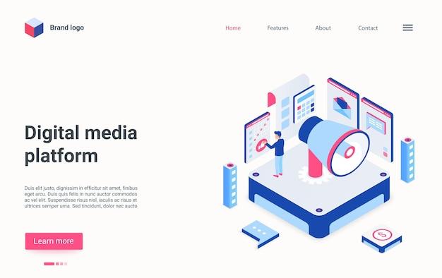 Illustrazione isometrica della piattaforma multimediale digitale sulla pagina di destinazione