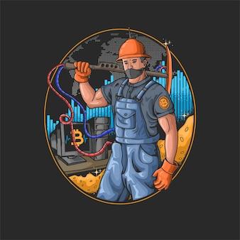 Affari moderni dell'illustrazione di estrazione mineraria digitale