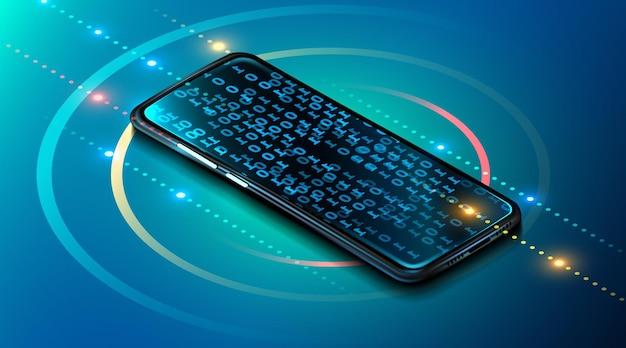 Tecnologia mobile digitale. dispositivo con codice binario di programmazione mobile