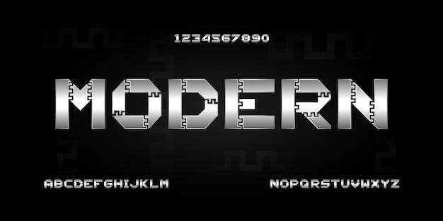 Carattere alfabeto moderno digitale. tecnologia tipografica astratta elettronica, sport, musica, carattere creativo futuro