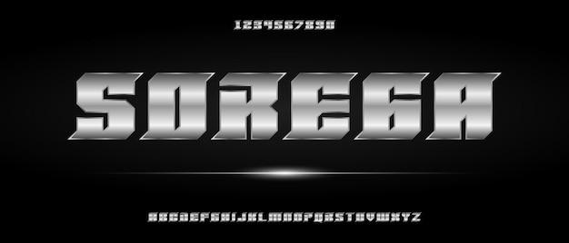 Carattere alfabeto moderno digitale con modello in stile urbano