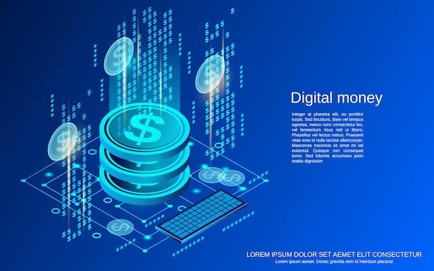 Illustrazione di concetto di vettore isometrico piatto 3d di denaro digitale