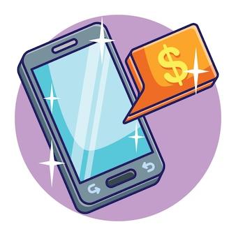 Concetto di telefono cellulare di risparmio o deposito online di denaro digitale. vettore premium