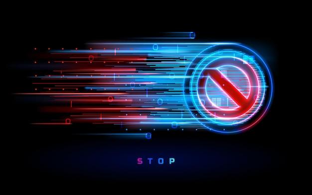 Flusso al neon digitale con segnale di stop. distintivo con simbolo proibito o proibito, non consentito o di restrizione. avviso e pericolo, divieto e pericolo, pericolo e marchio restrittivo. divieto di cerchio. non c'è modo