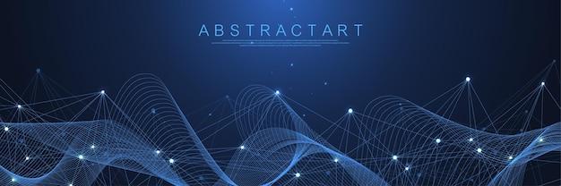 Connessione di rete digitale sfondo astratto intelligenza artificiale e tecnologia ingegneristica bi...