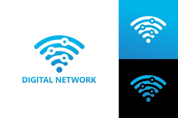 Vettore premium del modello di logo della rete digitale