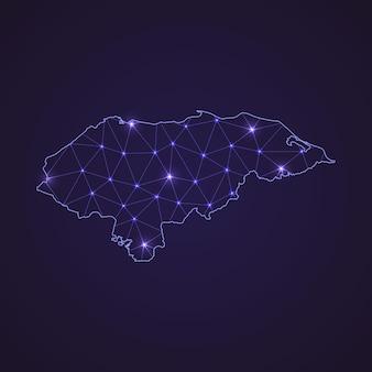 Mappa della rete digitale dell'honduras. linea e punto di connessione astratta