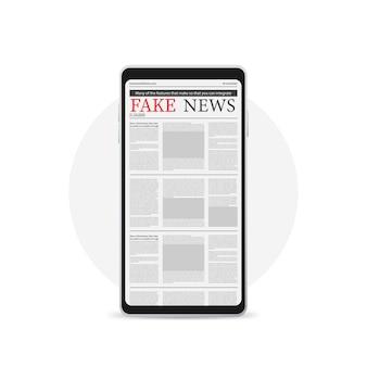 Concetto di notizie digitali con giornale di affari sullo schermo smartphone, icona isolato su bianco.