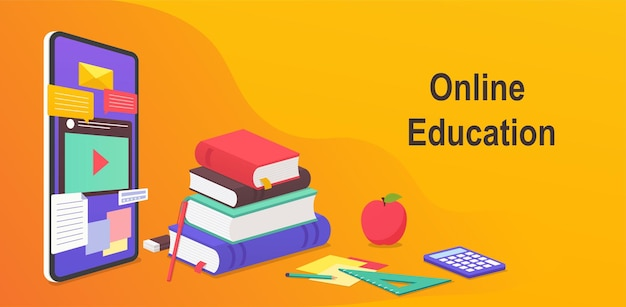 Educazione digitale online, concetto di apprendimento a distanza in tutto il mondo dal sito mobile. webinar didattico su smartphone, libri e guide allo studio, materiale didattico.