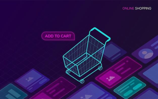Sfondo di tecnologia dello shopping online digitale