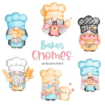 Elementi di gnomi panettiere acquerello pittura digitale che cucinano gnomo