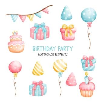 Elementi di festa di compleanno dell'acquerello pittura digitale