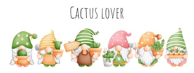 Elemento di gnomo cactus acquerello pittura digitale. vettore di piante e giardinaggio.