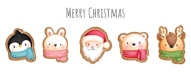Insegna dei biscotti animali di natale dell'acquerello della pittura digitale.