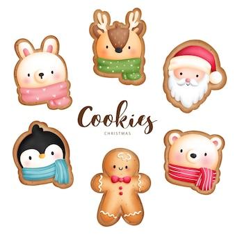 Dipinto digitale ad acquerello biscotti animali di natale