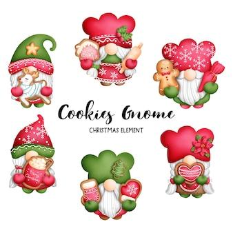 Insegna dei biscotti dello gnomo di natale dell'acquerello della pittura digitale.