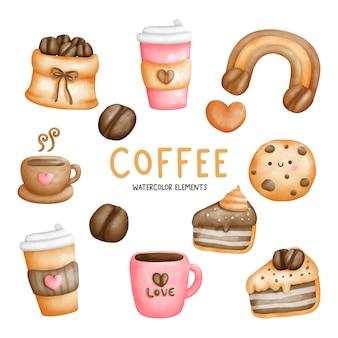 Elementi di amante del caffè dell'acquerello pittura digitale
