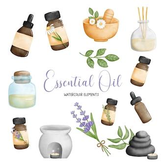 Elemento spa dell'olio essenziale dell'acquerello della pittura digitale