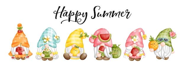 Cartolina d'auguri di felice estate degli gnomi della frutta dell'acquerello della pittura digitale