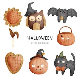Acquerello di pittura digitale happy halloween con gatto nero, zucca e gufo. illustrazione vettoriale