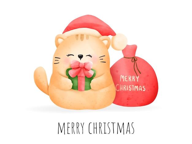 Cartolina di natale miagolante acquerello pittura digitale. vettore del gatto di natale.