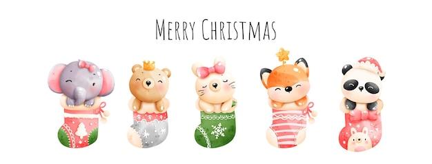 Dipinto digitale acquerello merry christmas banner, vettore animale di natale.